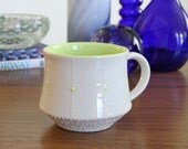 Mug in Green - SHOP SALE - Ceramic Pottery Mug with Green Accents