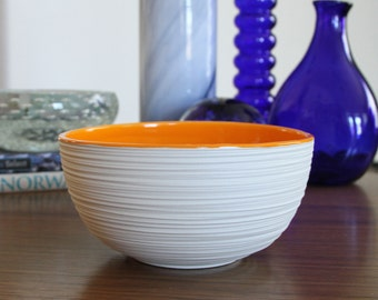 Orange Pottery Bowl - Groove Bowl in Orange - Modern Ceramic Bowl - Orange Porcelain Bowl with Texture