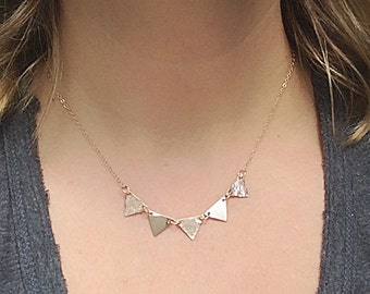 Rose Gold Triangle Necklace Textured Flag Bunting Pendants Pink Gold Jewelry