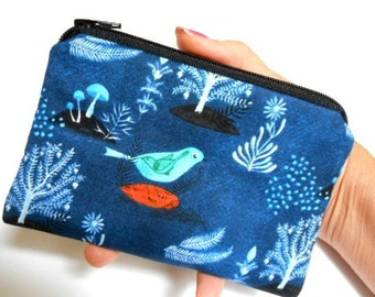 Organic Zipper Pouch Little Coin Purse ECO Friendly Padded NEW Pomegranate Birds