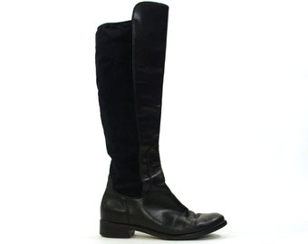 Cole Haan Black Leather Boots / Tall Knee High Riding Boots with Flat Heel / Nike Air / Women's Size 7.5