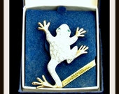 Silver and Gold Frog Brooch with Genuine Austrian Crystals Vintage In the Original Box