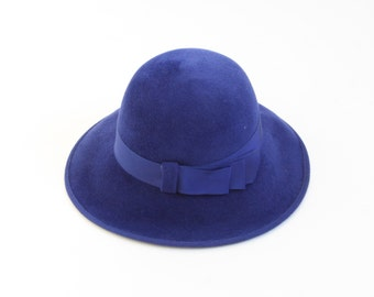 Vintage Royal Blue Rabbit Hair Hat