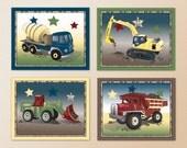 Set of Four Construction Zone Trucks Little Boys Nursery Wall Art Prints. m2m bedding set