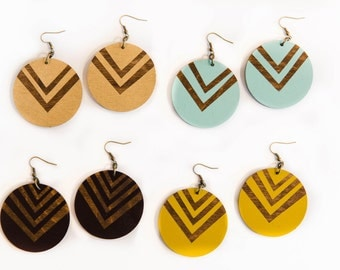Chevron Circle Earrings