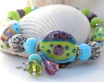 DRAGONFLY Handmade Lampwork Bead Bracelet