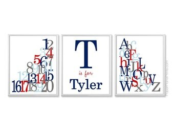 Alphabet Wall Art, Baby Boys Personalized Name Picture, Educational Playroom Prints, Navy Red Blue Nursery Wall Art Set Letters Numbers 8x10