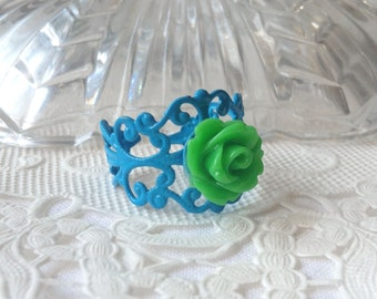 Blue Green Ring Green Flower Ring Emerald Green Flower Ring Bright Blue Ring Cornflower Blue Ring Green Floral Ring