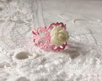 Pastel Pink Ring Pink White Ring White Flower Ring Pastel Pink Ring Soft Pink White Ring White Floral Pink Ring #2