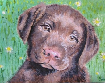 5x7 Original custom pet portrait painting from your photo, oil painting on canvas, dog painting or any animal, Labrador pup