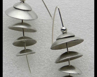 CHA CHA - Handforged Domed Floating Pewter Discs & Sterling Earrings