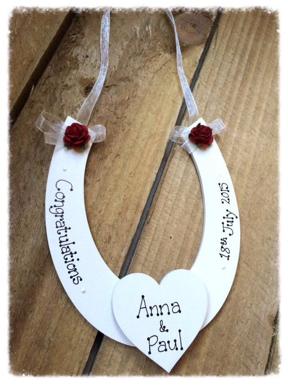 Personalised Wedding Good Luck Gifts : Personalised Wedding Wooden Horseshoe Good Luck Bride Handmade Gift