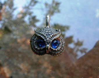 Sterling Silver Owl Pendant With Sapphire Eyes
