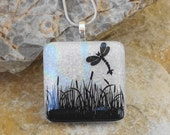 Dragonfly Pendant, Dichroic Glass Pendant, Fused Glass Pendant, White Glass Pendant, Image Pendant, Fused Glass Necklace, Dragonfly Garden