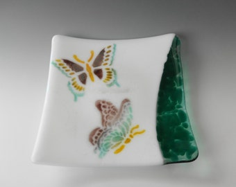 Green and Purple Butterfly Plate, Fused Glass Butterfly Plate, Fused Glass Dish, Glass Candy Dish, Pillar Candle Holder, Trinket Tray