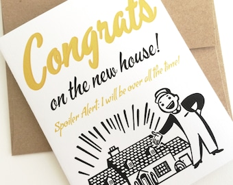 Congrats on the New House Card. Housewarming Card. First House Gift. Congratulations Card. First Time Homeowner. Moving Card.