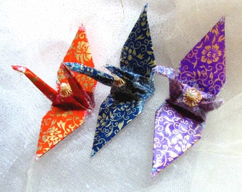Taiwan Flowers, Wedding Cake Topper, Peace Crane Bird Party Favor Christmas Origami Ornament Place Card Holder Decor Gold Orange Navy Purple
