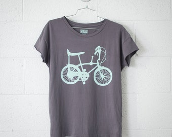 Women's Small Wheelie Bike Tee,Turquoise on Slate Gray