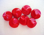 Neat Vintage Red Plastic Fancy Designed Buttons