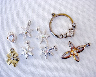 Pretty Lot of Various Vintage Charms/Pendants with Rhinestone Accents
