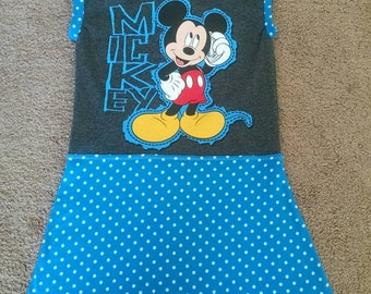 Boutique Custom Upcycled Knit Dress! Licensed MICKEY MOUSE fabric used. Size 3T/4T