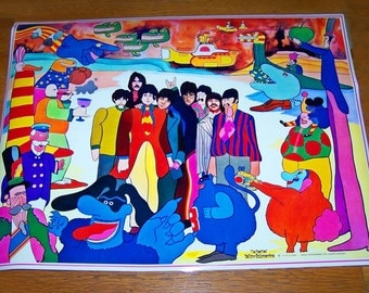 1968 Anglo Beatles Yellow Submarine Poster reproduction 27.5 x 21  Beautiful and Rare