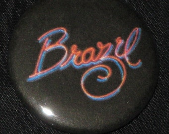 "Brazil Neon Logo Repro Button 1.25"" Pink & Blue Badge Pinback Terry Gilliam Cult Film"