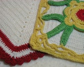 Retro Potholders Vintage 2 piece Crocheted Pot Holder Set Yellow Red Green Kitchen Linens