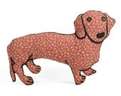 decorative pillow, medium dachshund dog shaped pillow, softie, plush dog of coral graphic fabric