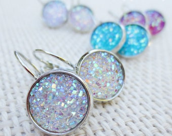 Faux Druzy Crystallized Geode Statement Silver Dangling Leverback Earrings in Aqua Lavender Pink or White AB