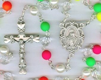 Unique Neon Multi-Colored Rosary