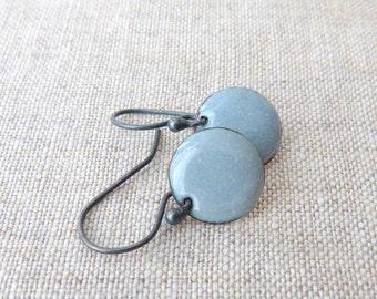round torch fired enameled earrings sterling silver steel grey