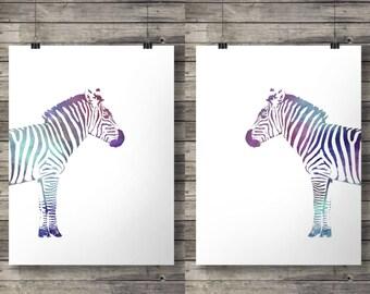 Watercolor 'Zebra Love' -  Pair of Printable watercolor zebras - wall art prints -  Instant download