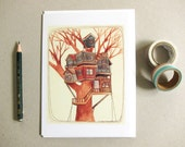 New Home Card - New Home Congratulations Card - Tree House Card - Illustrated Tree House Card - Blank Card - Tree House