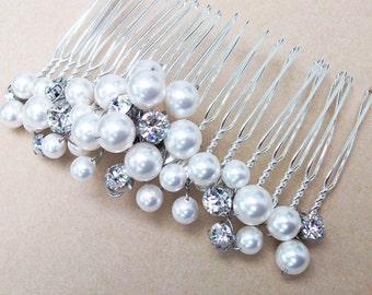 Choice of White or Cream Pearl Bridal Hair Comb, Bridal Hair Accessories, Beaded Hair Comb, Wedding Head Piece, Wedding Hair, Pearls