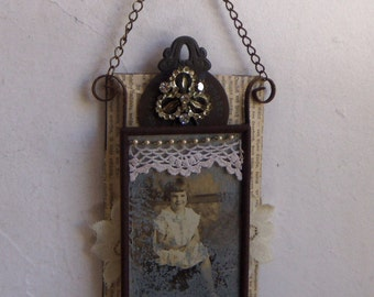WALL HANGING  - Aged Glass Assemblage Art  Altered Vintage Found Objects Costume Jewelry #1287