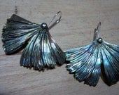 Carved Abalone shell, sterling silver french dome earwire