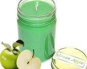 Green Apple Scent Mason Jar Candle 12 Oz Fall Scent Handmade