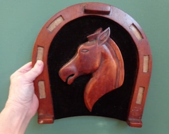 Hand made Hand Carved Horse and Wood Horse Shoe Wood Horse Shoe Horse Head on Velvet Country Western Collectibles