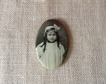 Antique Photo Mirror of an Adorable Little Girl with long beautiful Curls