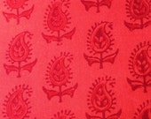 Indian block print, paisley, fabric, Indian fabric, cotton yardage, red cotton print, coral print