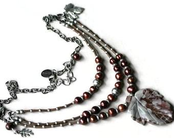 Burgundy Marsala and Gray Pearl and Jasper Three Strand Boho Style Leaf Pendant Necklace