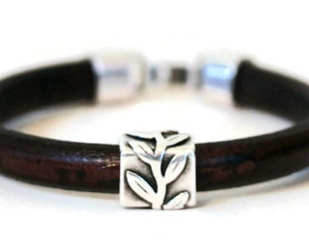 Men's Thick  Leather and Oxidized Silver Plated Tube Bead Bracelet With Hook Clasp Available in Three Colors