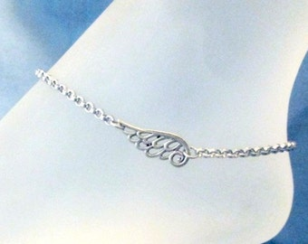 Angel Wing Bracelet or Anklet 316 Stainless Steel Rolo Chain, non tarnish charm Open Filigree Wing Angels Protection Charm Guardian