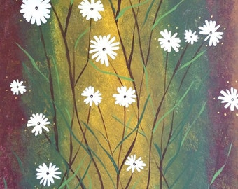 Original Abstract Canvas Art Painting Modern Decor Flowers and Nature of Daisy Artist Heather Lange Large Wall Home Decor