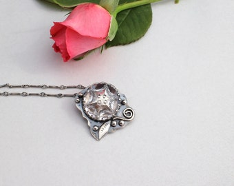 Vintage Crystal Button Necklace Sterling Silver Floral
