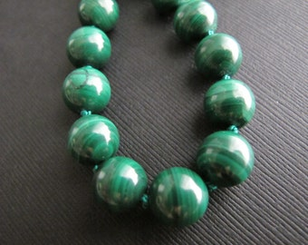 Forest. Malachite Necklace on Sterling Silver, Lush Emerald Green Beaded Necklace, Natural Gemstone Jewelry