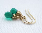 Emerald Green Petite Teardrop Wire Wrapped Goldfilled Dangle Earrings UK Seller Contemporay Gold Filled Jewellery Wedding Gift Idea