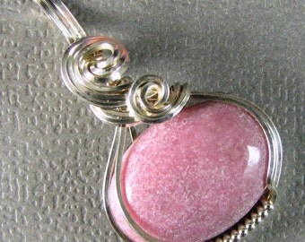 Petite Sterling Silver Pink Rhodonite Pendant Wire Wrapped Pendant Silver and Black Pendant