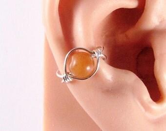 Ear Cuff Large Bead Sterling Silver Ear Cuff Ear Wrap Non Pierced Cartilage Earring Brown Aventurine Ear Cuff